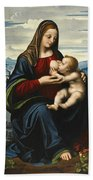Madonna And Child Before A Landscape Bath Towel