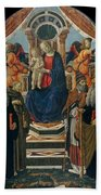 Madonna And Child Enthroned With Saints And Angels Bath Towel