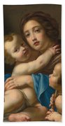 Madonna And Child With Saint John The Baptist Bath Towel