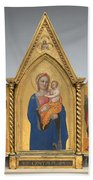 Madonna And Child With Saint Peter And Saint John The Evangelist [middle Panel] Bath Towel