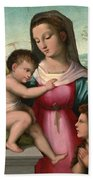 Madonna And Child With The Infant Saint John The Baptist Bath Towel