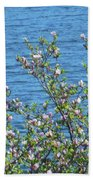 Magnolia Flowering Tree Blue Water Bath Towel