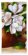 Magnolias In A Clay Pot Bath Towel