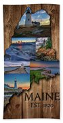 Maine Lighthouses Collage Hand Towel
