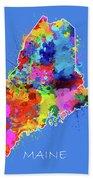 Maine Map Color Splatter 3 Bath Towel