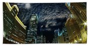 Majestic Chicago - Windy City Riverfront At Night Bath Towel