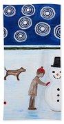 Making A Snowman At Christmas Hand Towel