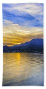 Makrygialos Sunset Digital Painting Bath Towel