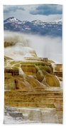 Mammoth Hot Springs In Yellowstone National Park, Wyoming. Bath Towel