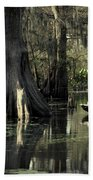 Man Fishing In Cypress Swamp Bath Towel