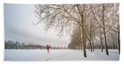 Man In Red Taking Picture Of Snowy Field And Trees Bath Towel