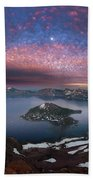 Man On Hilltop Viewing Crater Lake With Full Moon Bath Towel
