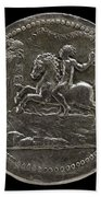 Man Riding Towards A Cliff Carrying A Scroll [reverse] Bath Towel