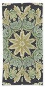 Mandala Leaves In Pale Blue, Green And Ochra Bath Towel
