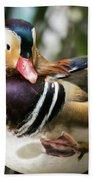 Mandarin Duck Raising One Foot. Bath Towel