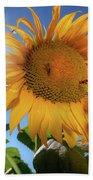 Many Bees Flying Around Sunflowers Bath Towel
