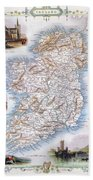 Map: Ireland, 1851 Bath Towel