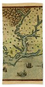 Map Of America 1590 Bath Towel