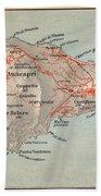 Map Of Capri 1909 Hand Towel