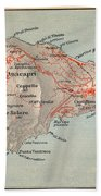 Map Of Capri 1909 Bath Towel