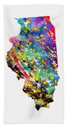 Map Of Illinois-colorful Bath Towel