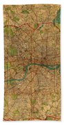 Map Of London England United Kingdom Vintage Street Map Schematic Circa 1899 On Old Worn Parchment  Bath Towel