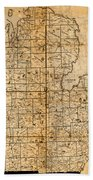 Map Of Michigan Vintage Railroad Train Routes Hand Drawn On Worn Distressed Old Canvas Bath Towel