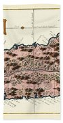 Map Of Saint Lucia 1758 Hand Towel