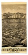 Map Of Santa Barbara 1877 Bath Towel