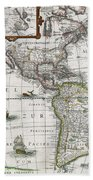 Map Of The Americas Bath Towel