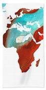 Map Of The World 4 -colorful Abstract Art Bath Towel