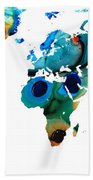 Map Of The World 6 -colorful Abstract Art Hand Towel