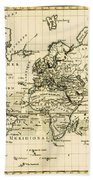 Map Of The World Using The Mercator Projection Bath Towel