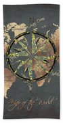 Map Of The World Wind Rose 5 Bath Towel
