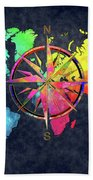 Map Of The World Wind Rose 6 Bath Towel