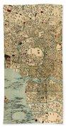 Map Of Tokyo 1854 Bath Towel