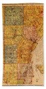 Map Of Wayne County Michigan Detroit Area Vintage Circa 1893 On Worn Distressed Canvas  Bath Towel