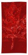 Maple Leaf Filigree Pattern Bath Towel