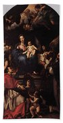 Maratti Carlo Madonna And Child Enthroned With Angels And Saints Bath Towel