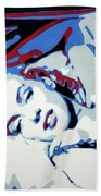 Marilyn Monroe Blue And Red Detail Bath Towel