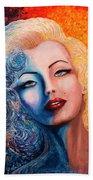 Marilyn Monroe Original Acrylic Palette Knife Painting Bath Towel