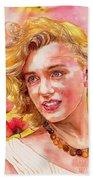 Marilyn Monroe With Poppies Bath Towel