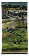 Mariners Point Golf Center In Foster City, California Aerial Photo Bath Towel