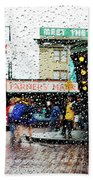 Market In Rain J005 Bath Towel