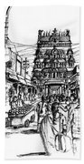 Market Place - Urban Life Outside Temple India Bath Towel
