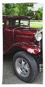 Maroon Vintage Car Bath Towel