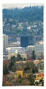 Marquam Bridge By Portland City Skyline Panorama Bath Towel