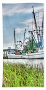 Marsh View Shrimp Boats Bath Towel