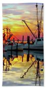 Marshallberg Harbor Sunset Bath Towel