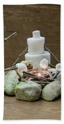 Marshmallow Family Making S'mores Over Campfire Bath Towel